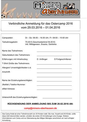 Anmeldeformular-Ostercamp